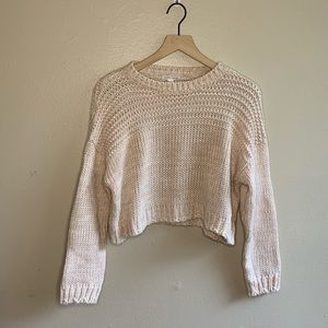 Melrose & Market Pink Cropped Chunky Knit Sweater